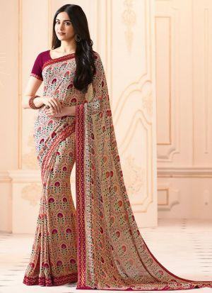 Mesmerising Cream Georgette Casual Printed Saree