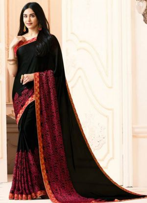 Mesmerising Georgette Black Casual Printed Saree