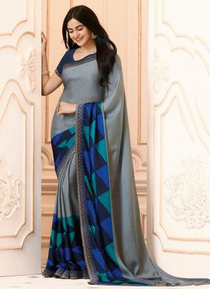 Mesmerising Georgette Grey Casual Printed Saree