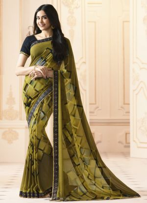 Mesmerising Georgette Olive Green Casual Printed Saree