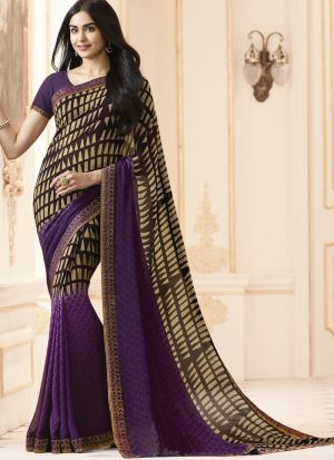 Mesmerising Purple Georgette Casual Printed Saree