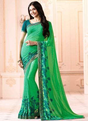Mesmerising Spring Green Georgette Casual Printed Saree
