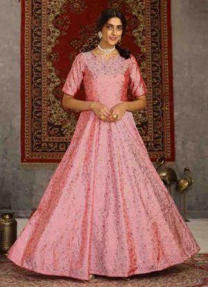 Metallic Foil Print Pinked Taffeta Gown