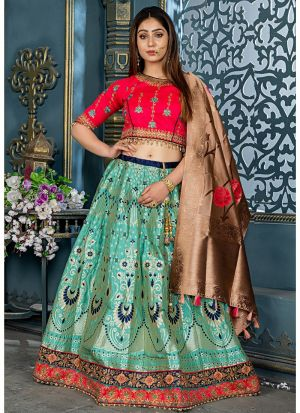 Mint Banarasi Silk Designer Lehenga Choli