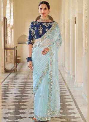 Mint Blue Organza Festive Wear Saree