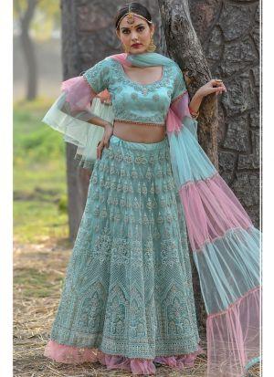 Mint Butterfly Net Party Wear Lehenga Choli