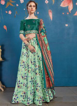 Mint Green Art Silk Attractive Party Wear Designer Lehenga Choli