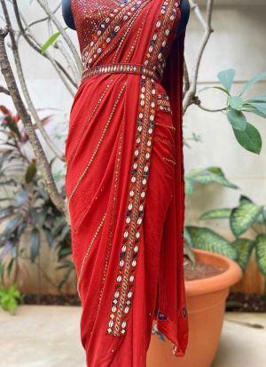 Mirror Work Red Georgette saree