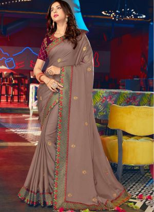 Mocha Rangoli Silk Traditional Wear Saree