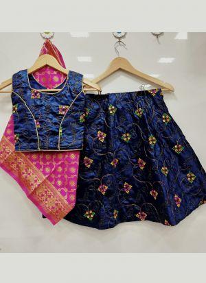 Modernistic Navy Blue Embroidery Girls Lehenga Choli