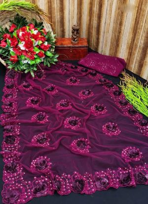 Mono Net Embroidery With Applique Flowers Saree