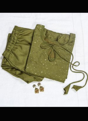 Moss Green Slub Cotton Salwar Suit
