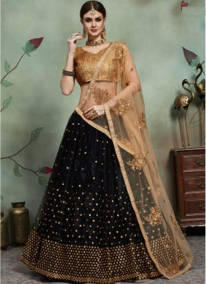 Most Demanded Black Designer Lehenga Choli In Soft Net Fabric