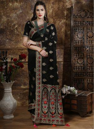 Most Demanded Black Designer Saree In Silk Fabric
