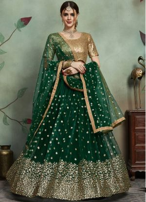 Most Demanded Dark Green Designer Lehenga Choli In Soft Net Fabric