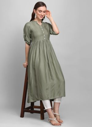 Most Demanded Frock Style Light Green Heavy Rayon 3-4 Sleeves Kurti