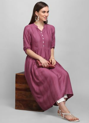 Most Demanded Frock Style Raspberry Heavy Rayon 3-4 Sleeves Kurti