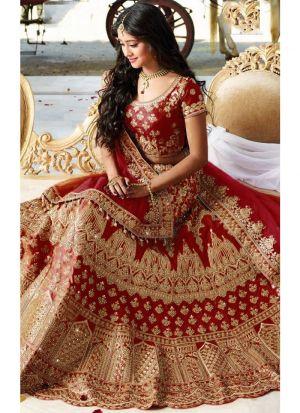 Most Demanded Maroon Bridal Banglori Silk Diamond Work Lehenga Choli With Mono Net Dupatta
