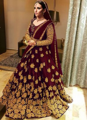 Most Demanded Maroon Bridal Kerala Silk Embroidered Lehenga Choli With Mono Net Dupatta