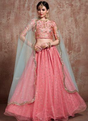 Most Demanded Pink Designer Lehenga Choli In Soft Net Fabric