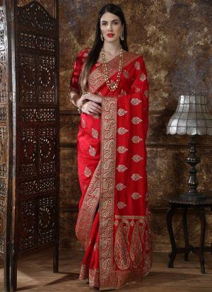 Most Demanded Red Designer Saree In Silk Fabric
