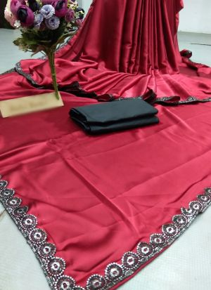 Most Demanded Red Satin Party Wear Saree