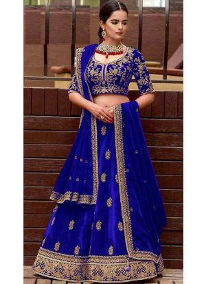 Most Demanded Royal Blue Bridal Velvet Diamond Work Lehenga Choli With Mono Net Dupatta