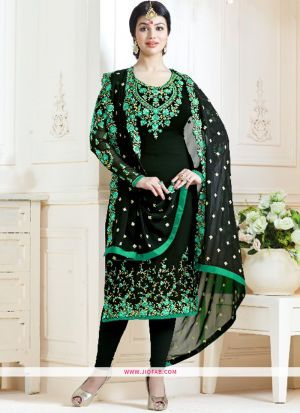 Most Demanding Black And Rama Embroidered Georgette Bollywood Salwar Suit