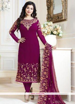Most Demanding Magenta Embroidered Georgette Designer Salwar Suit