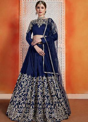 Most Popular Designs Of Navy Color Designer Lehenga Choli With Soft Net Dupatta