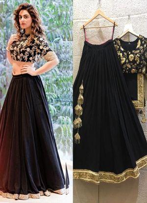 Most Stylish Black Taffeta Silk Dori And Sequence Work Lehenga Choli