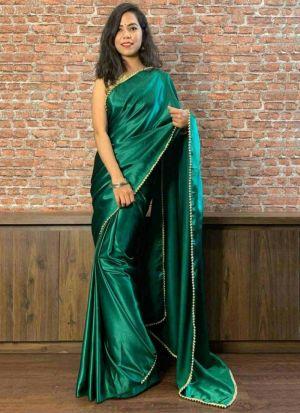 Moti Work Satin Saree In Dark Green