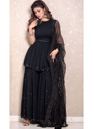 Mouni Roy Black Georgette Mirror Work Palazzo Style Suit