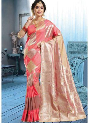 Multi Color Banarasi Pure Silk Designer Traditional Saree For Wedding