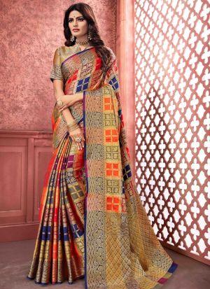 Multi Color Banarasi Pure Silk Festive Wear Traditional Saree