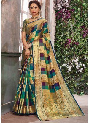 Multi Color Elegant Banarasi Pure Silk Saree