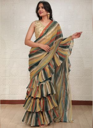 Multi Color Georgette Printed Ruffle Saree