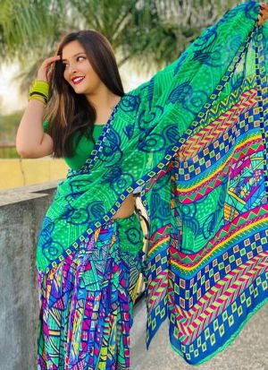 Multi Color Georgette Traditional Saree