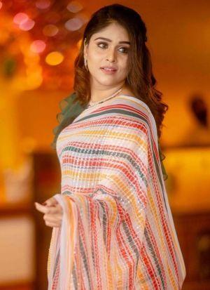 Multi Color Heavy Vichitra Silk Pretty Saree