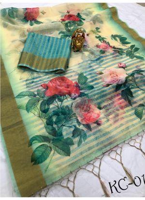 Multi Color Linen Saree