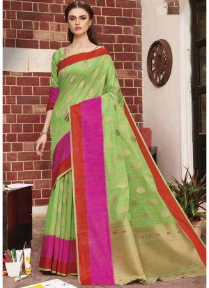 Multi Color Linen Silk Festive Wear Classy Saree
