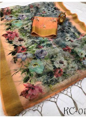 Multi Color Linen Wedding Saree