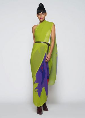 Multi Color Printed Crush Saree