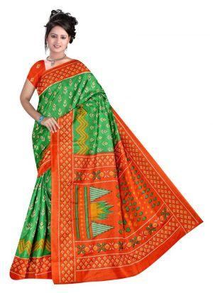 Multi Color Printed Saree With Rice Silk Fabric