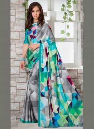 Multi Color Printed Traditional Saree