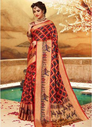 Multi Color Pure Handloom Silk Designer Traditional Saree For Wedding