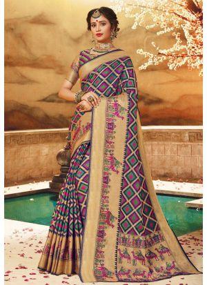 Multi Color Pure Handloom Silk Designer Traditional Saree