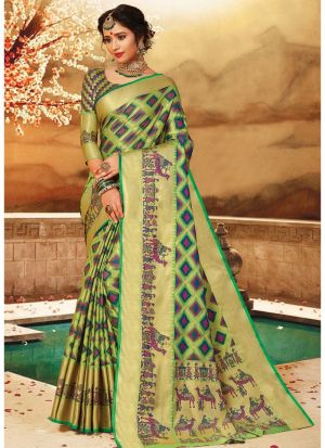 Multi Color Pure Handloom Silk Festive Wear Glorious Saree