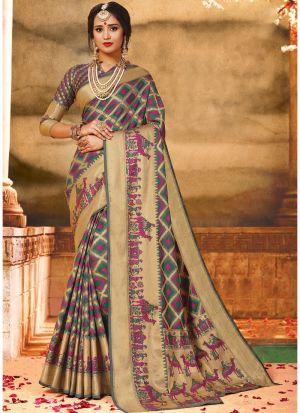 Multi Color Pure Handloom Silk Festive Wear Traditional Saree