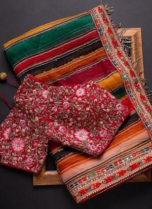 Multi Color Rajwadi Silk Embroidery Saree